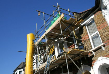 scaffolding with wooden platform